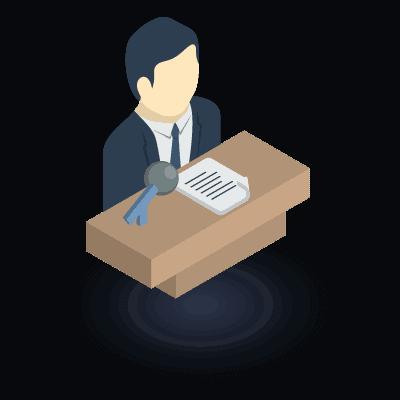 אייקון איש יושב מול שולחן בצבע חום, ומולו מיקרופון ודפים