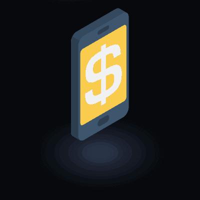 אייקון - סלולארי עם סמל של דולר בתוכו