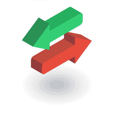 אייקון - שני חצים לשני כיוונים שונים, אדום וירוק