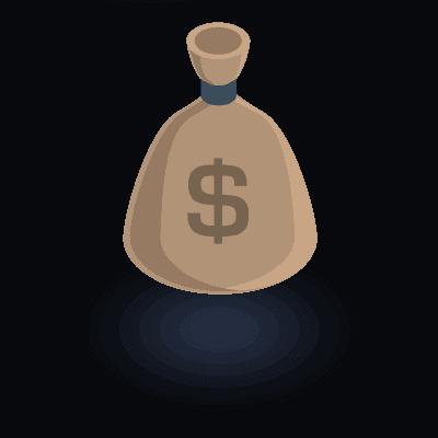 אייקון - שק כסף בצבע חום